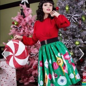 Pinup Couture Christmas Ornament skirt NWT size M